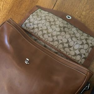COACH laptop bag briefcase brown leather
